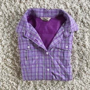 Duluth Purple Plaid Top. Size small.